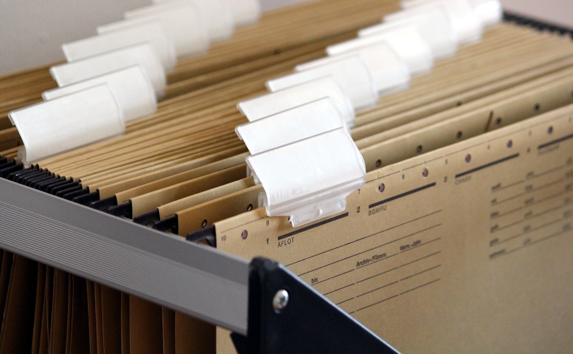 Hanging files in a filing cabinet